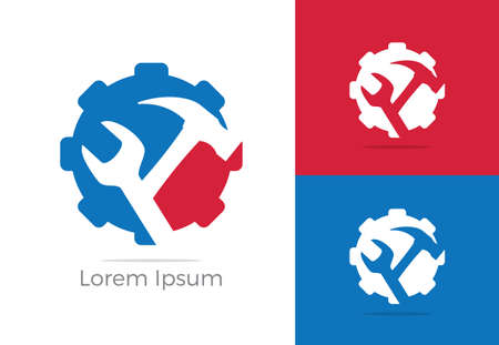 Automobile, car repairing service logo design, wrench in gear icon, mechanic tools vector illustration. 일러스트