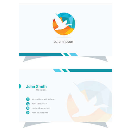 Polygonal Duck logo, abstract low poly bird flying vector design, bird business card