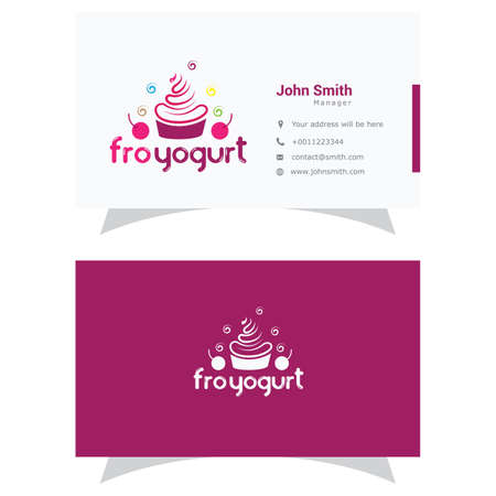 Cupcake logo, ice cream and yogurt vector design, cupcake business card illustration. 向量圖像