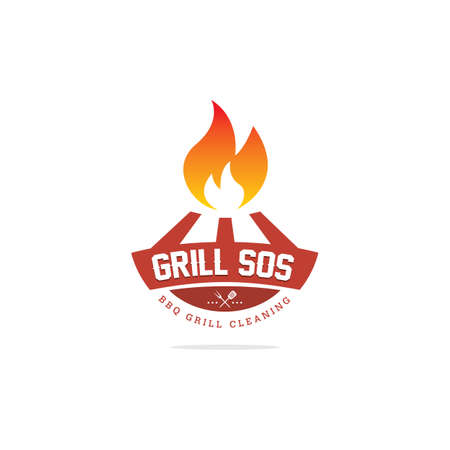 Barbecue party icon logo design, bbq grill vector, restaurant fast food illustration.