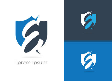 Safety and Security E letter logo design. Protection letter E in shield vector icon.
