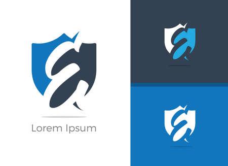 Sicurezza e protezione E lettera logo design. Lettera di protezione E nell'icona di vettore dello scudo.