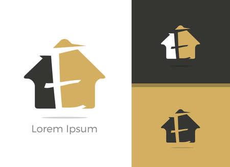 E letter logo design. Real Estate letter E in home vector icon.