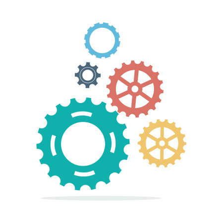 vector template Infographic with gear chain. Gears vector design, Gear Infography