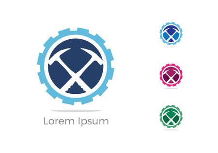 mining icon, car repairing service logo design, hammer in gear icon, mechanic tools vector illustration.