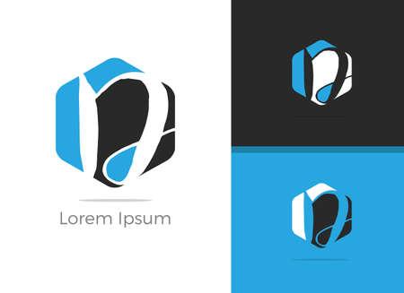 D letter logo design, letter D in hexagon shape vector icon.  イラスト・ベクター素材