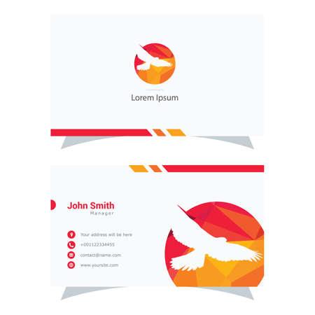 Polygonal Eagle logo, colorful falcon low poly hawk bird vector design, bird business card.
