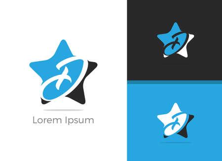 D letter logo design, letter D in star vector icon.