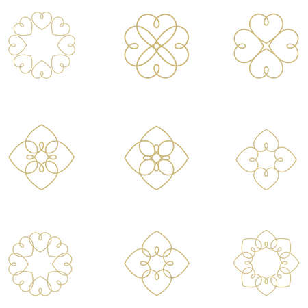 Heart logos collection, luxury jewelry vector logo design. Expensive floral diamond icons.