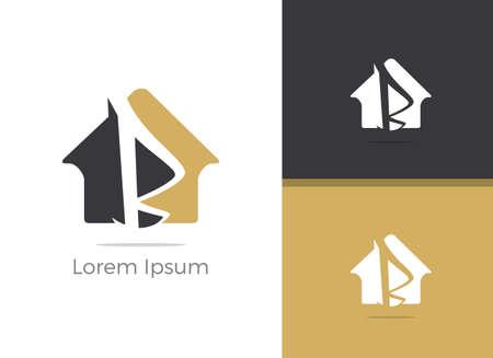 B letter logo design, letter B in home vector icon.