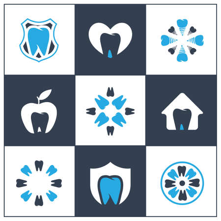 Dental care logo icons set, tooth in shield and flower illustration. Dentist care clinic.