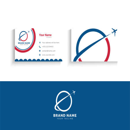 Travel and tourism logo and business card design vector illustration.