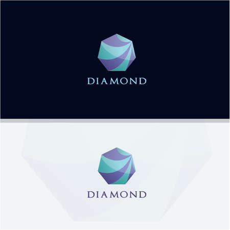 Diamond logo design, Crushing abstract pattern. Colorful precious stone logotype. Jewelry shop logo.  イラスト・ベクター素材