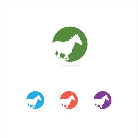 colorful illustration, animal, horse, wildlife, love, care vector logo design