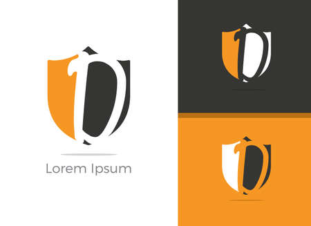 Safety and Protection D letter logo design, letter D in shield vector icon.