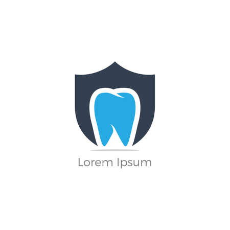 Dental care logo design. Tooth in shield vector illustration. Teeth safety and care.  イラスト・ベクター素材