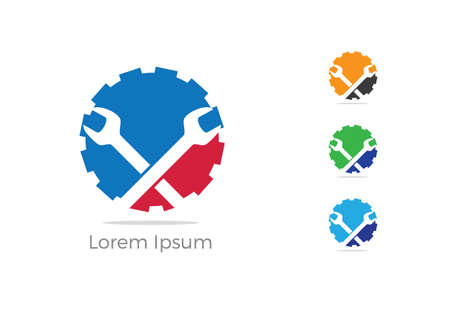 Automobile, car repairing service logo design, wrench in gear icon, mechanic tools vector illustration.  イラスト・ベクター素材