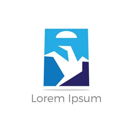 Shopping bag logo design, bird in hand bag vector, travel agency logo design.