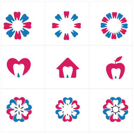 Dental care logo icons set, tooth in home and flower illustration.