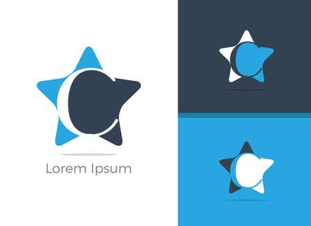 C letter logo design, letter C in Star vector icon.  イラスト・ベクター素材