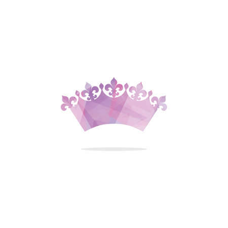 Colorful crown logo design, abstract king crown vector icon.  イラスト・ベクター素材