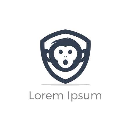 Monkey in shield logo design, monkey vector icon, animal illustration  イラスト・ベクター素材