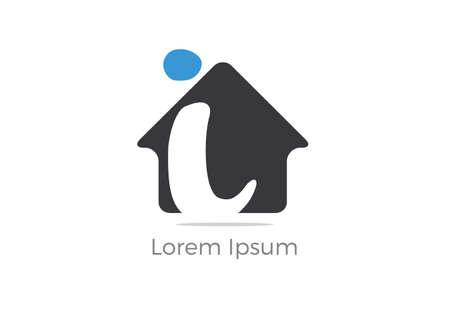 Real Estate I letter logo design, letter i in home vector icon.