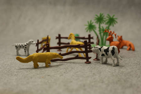 Animals miniature zoo background with tree Stok Fotoğraf