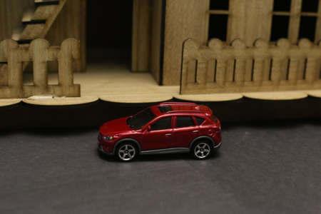 miniature people sitting on car and road rage accident Stok Fotoğraf