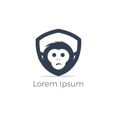 Monkey in shield logo design, monkey vector icon, animal illustration Illustration