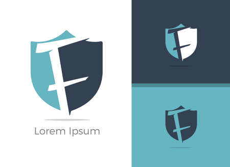 Safety and Security letter F logo design, F letter in shield vector icon.
