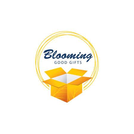 Gift box logo design, blooming surprise packaging box vector illustration.