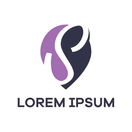 S letter logo design. Letter s in location pin shape vector illustration.