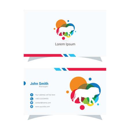 Lion logo design, king vector illustration, animal business card Banque d'images - 138425178