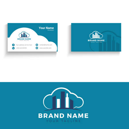 Building and construction vector logo and business card. Real estate agent business card vector illustration. Archivio Fotografico - 138425183