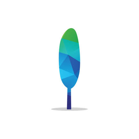 Colorful tree vector, hexagon, polygonal tree illustration, tree logo low poly style. Banque d'images - 138425263