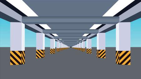 Parking area illustration, car parking road and bridge vector illustration.