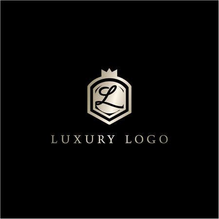 Letter in shield logo design. luxury letter L vector icon. Hotel and boutique logo illustration.