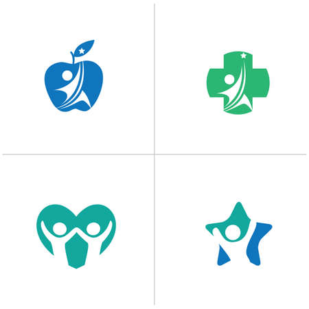 Low poly Happy home logo designs. Happy family, Health and care icons, Low poly happy kids vector, Ilustrace