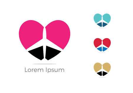 Travel logo design. Airplane in heart vector illustration. Holidays and tourism symbol.