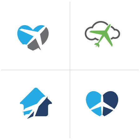 love travel logo design. Airplane in heart and home. Travel agency and tourism logo. Ilustrace
