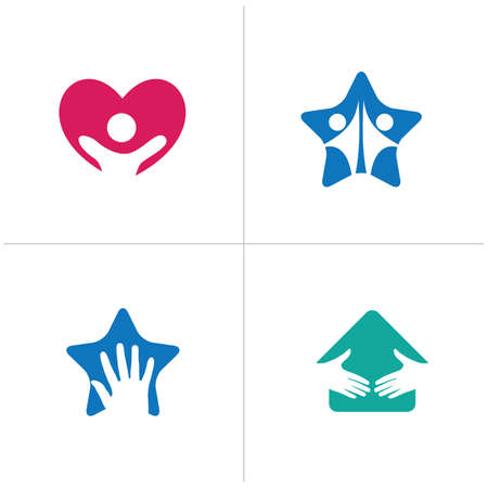 Happy people logo designs. Happy family and Health care icons, kids vector