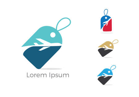 Travel logo design, Holiday bag and airplane icon, business trip, tourism, plane vector illustration.
