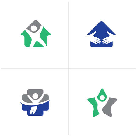 Happy home logo designs. Happy family, Health and care icons, Low poly happy kids vector. Medical care and hospital icons.
