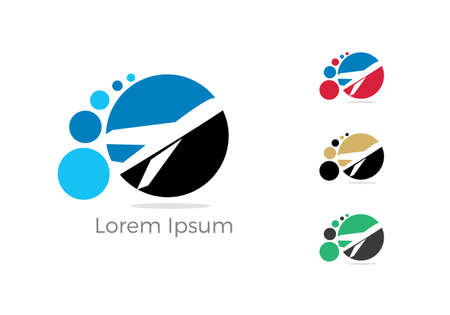 Travel logo design. Airplane in circle vector illustration. Holidays and tourism symbol. Ilustrace