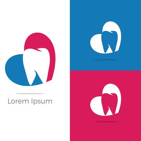 Dental care logo design. Tooth in heart vector illustration. Ilustrace