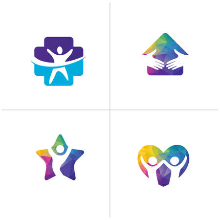 Low poly Happy home logo designs. Happy family, Health and care icons, Low poly happy kids in star and heart vector.