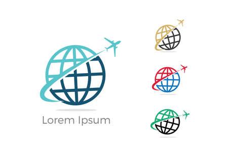 Travel logo design. Airplane in globe vector illustration. World tour and tourism symbol.