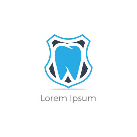 Dental care logo design. Tooth in shield vector illustration. Teeth safety and care. Ilustrace
