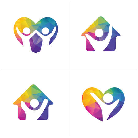 Low poly Happy home logo designs. Happy family and Health and care icons, Low poly happy kids in heart vector Ilustrace
